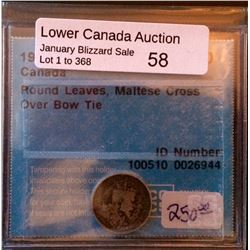 5 cents 1909; CCCS VG-10 Round Leaves, Maltese Croos Over Bow Tie.