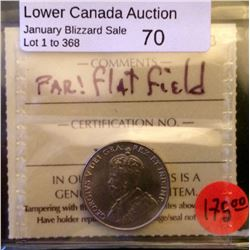 """5 cents 1936: ICCS MS-63. Not noted """"Flat Field"""" or Far."""
