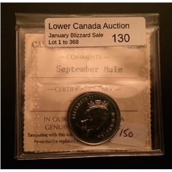 25 cents 1999; ICCS PL-64 September Mule.
