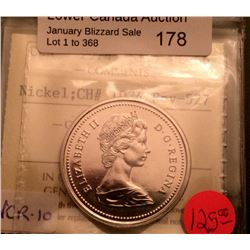 Nickel dollar 1974; ICCS UNC-66 Rev-527, Doubling of Legend and Dates VCR-10.