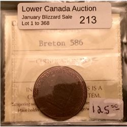 Breton 586; ICCSMS-62. Trace Red Canadian coin Cabinet token.