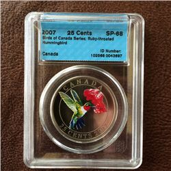 RCM Product: 25 cents 2007 Ruby-Throated Hummingbird; CCCS SP-68 in Hard Holder.