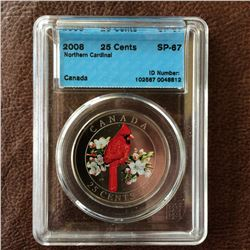 RCM Product: 25 cents 2008 Northern Cardinal; CCCS SP-67 in Hard Holder.