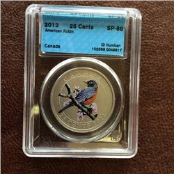 RCM Product: 25 cents 2013 American Robin; CCCS SP-68 in Hard Holder.