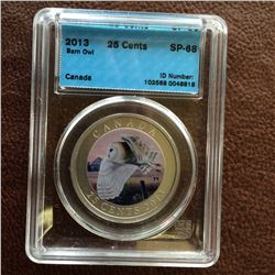 RCM Product: 25 cents 2013 Barn Owl; CCCS SP-68 in Hard Holder.