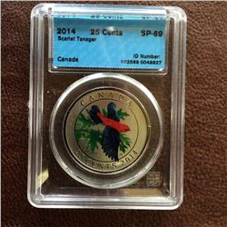 RCM Product: 25 cents 2014 The Scarlet Tanager; CCCS SP-69 in Hard Holder.