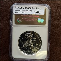 RCM Product; 1 dollar 2004 First French Settlement with Fleur de Lys Privy Mark; NGC MS-69.