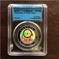 RCM Product: 10 dollars 2013 Dreamcatcher; CCCS PF-69 Ultra Heavy Cameo in Hard Holder.