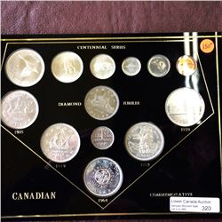 Canadian Commemorative Set in hard plastic holder; Contains a full set of 1967 coins from 1 cent to