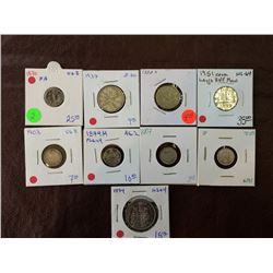 Canada assorted silver and nickel coins from 1870 to 1974. Lot of 9 coins.