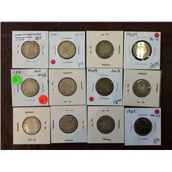 Canada silver 25 cents + one nickel; 1871 to 1969. Lot of 12 coins.