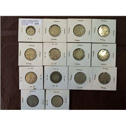 Newfoundland silver 5-20-25 cents from 1890 to 1917. Lot of 14 coins.