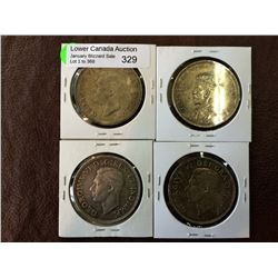 Canada silver dollar 1935-1937-1939-1951. Lot of 4 coins.