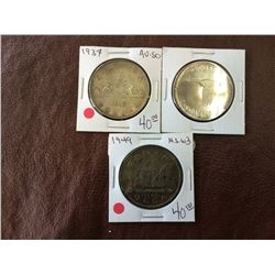 Canada silver dollar 1937-1949-1967. Lot of 3 coins.