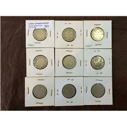 Newfoundland silver 20 cents from 1873 to 1912. Lot of 9 coins.