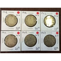 Canada silver 50 cents from 1907 to 1914. Lot of 6 coins.