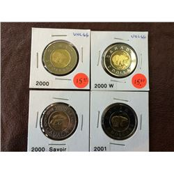 Canada two dollars mint state lot of 4 coins.