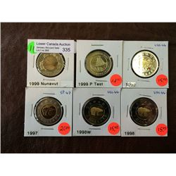 Canada two dollars mint state lot of 6 coins.