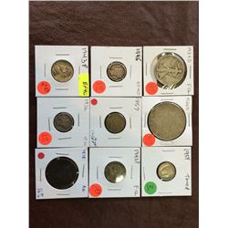 USA assorted coins from 1818 to 1954. Lot of 9 pieces.