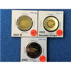 Canada two dollars mint state 2003. Lot of 3 coins.