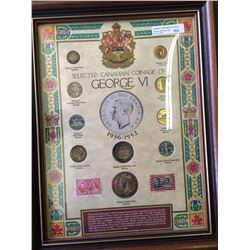 Superb Frame with George VI coins and stamps.