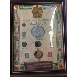 Superb Frame with George V coins and stamps.