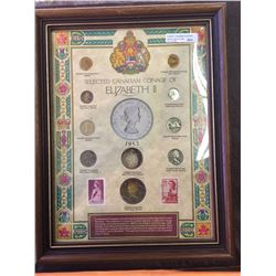 Superb Frame with Elizabeth II coins and stamps.