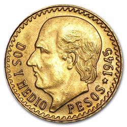 Mexico Gold 2 1/2 Pesos AGW .0603