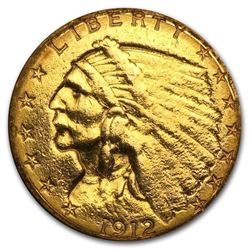 $2.50 Indian Gold Quarter Eagle  (1908-1929). NUMISMATIC GOLD COIN