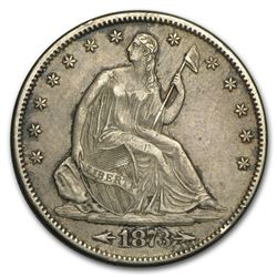 1873-S Liberty Seated Half Dollar w/Arrows AU-55 LOW MINTAGE RARE!