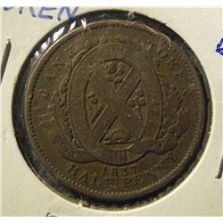 1837 Bank of Montreal Half Penny Bank Token