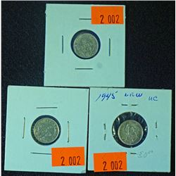 Lot of 3 - Newfoundland  5 cent silver coins