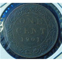 1901 - Canada Large One Cent -Victoria