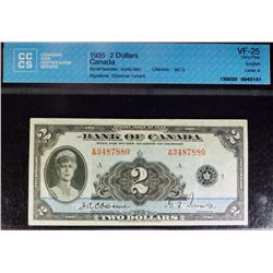 1935 - BC3 - Bank of Canada $2 - Osbourne-Towers Signature - CCCS Graded VF25