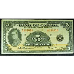 1935 - BC5 - Bank of Canada $5 - Osbourne-Towers Signature