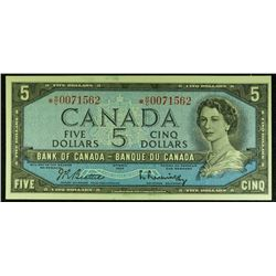 1954 - BC39aA-i - *RC Replacement - $5 Dollar - Bank of Canada - Beattie-Rasminsky Signature