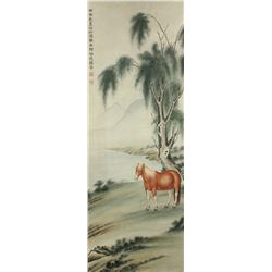 WC Horse Painting on Silk Ma Jin 1900-1970
