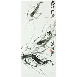 Ink Shrimp Paper Painting Qi Baishi 1864-1957