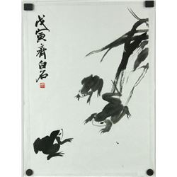 Ink Frogs Paper Painting Qi Baishi 1864-1958