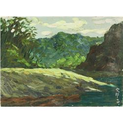 Chinese Oil Painting Canvas Yin Dingbang 1940-