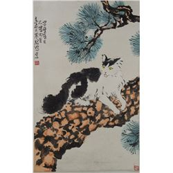 Chinese Painting Cat Signed Xu Beihong 1895-1953