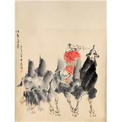 Chinese Lady & Camels Painting Signed Da Wei