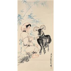 Chinese Lady & Goat Painting Wang Mingming 1952-