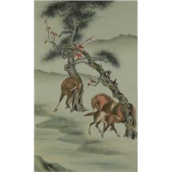Chinese Watercolour Horse Painting on Scroll