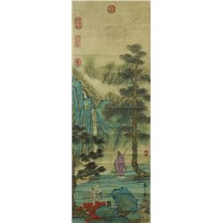 WC Landscape Silk Scroll Yu Zhiding 1647-1716