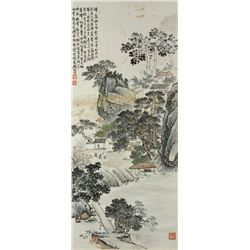 WC Landscape Paper Scroll Qian Songyan 1899-1985