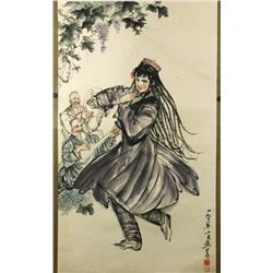 WC Figures Paper Scroll Huang Zhou 1925-1997