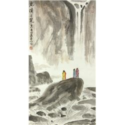 WC Landscape Paper Scroll Yaming 1924-2002