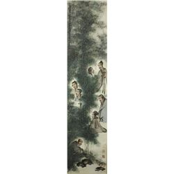WC Figures Painting Paper Scroll Fu Baoshi 1904-65