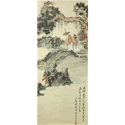 WC Landscape Figures Paper Scroll Pu Ru 1896-1963
